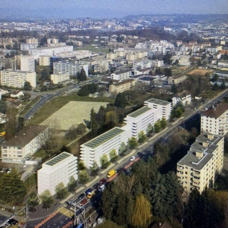 Illustration représentant les volumétries que le quartier pourrait accueillir à titre d'exemple, Plarel, 2021
